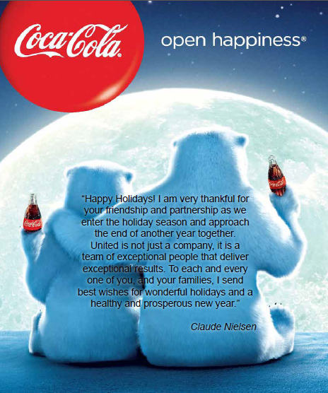 Holiday Greetings To All Coca Cola United Coca Cola