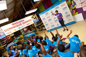 Dominique Dawes interacts with Boys and Girls Club kids