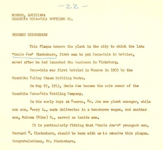 Monroe Coca-Cola; History; Coca-Cola UNITED