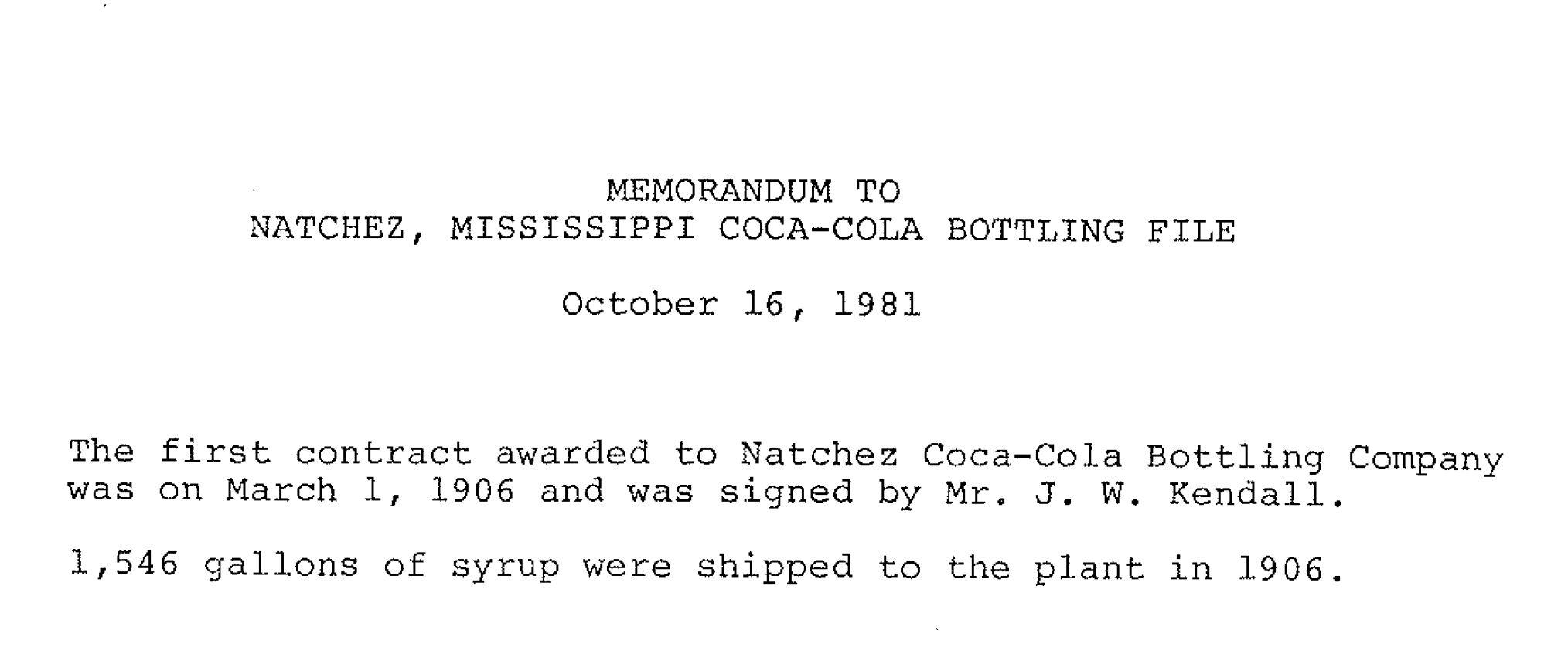 Natchez Coca-Cola; History; Coca-Cola UNITED
