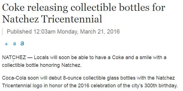 Natchez, Commemorative, Collectible, Bottle, Tricentennial