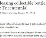 Collectible Coke bottle for Natchez Tricentennial