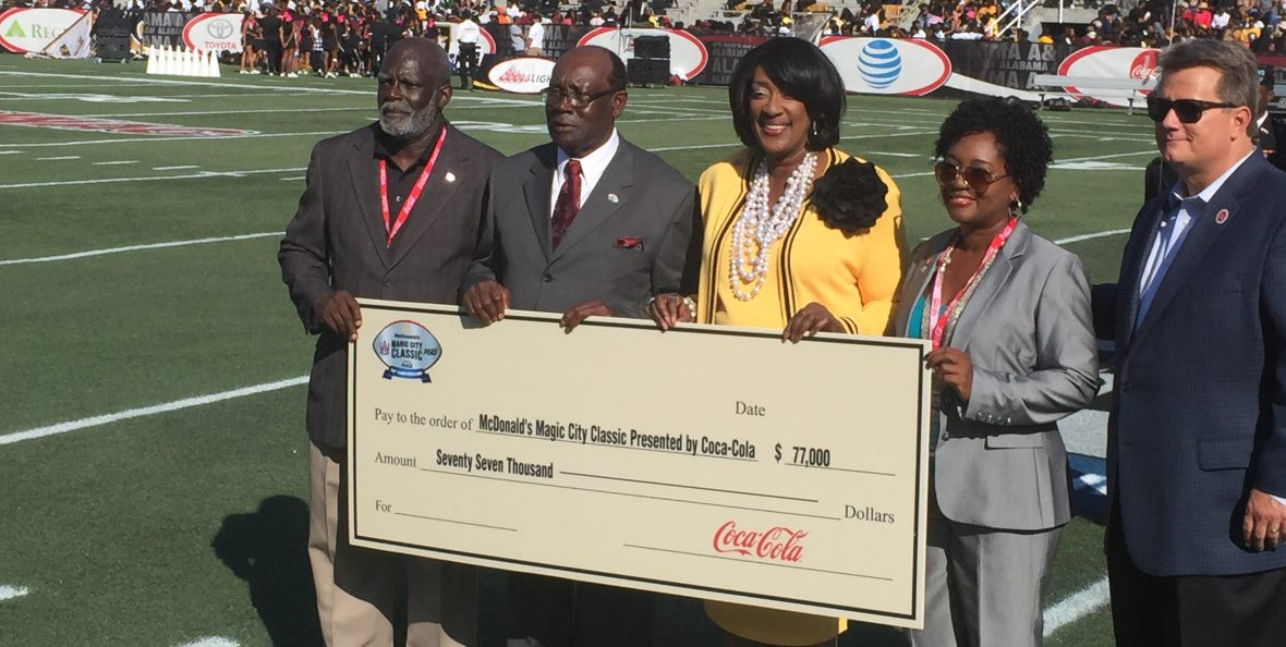 MCC, 2016, Events, Community, College Football, Magic City Classic, Sponsorship, AM University, Check Presentation