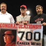 Rob Lewis, Coach Jimmie Lewis & Randy Lewis w/ banner