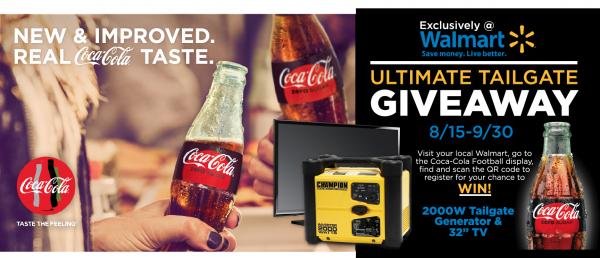 Walmart, Ultimate Tailgate Giveaway, Win, HDTV, Generator, Coke