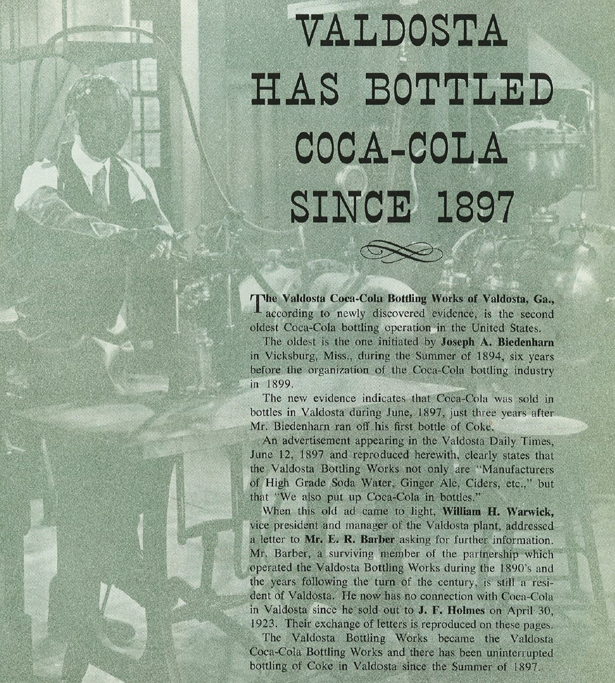 green historical document about coca cola